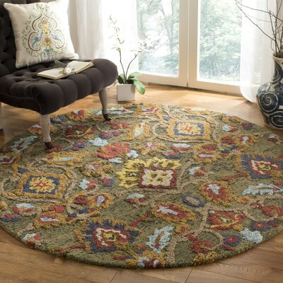 Elford Hand-Tufted Wool Green Area Rug Rug Size: Round 6