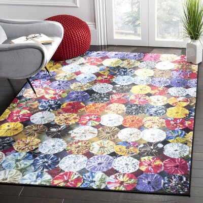 Garner Red Area Rug Rug Size: 51 x 76