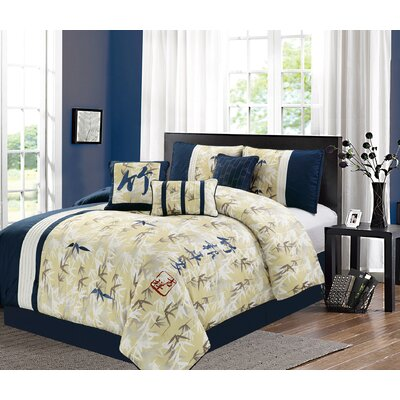 Romero Bamboo Embroidery 7 Piece Comforter Set Size: King