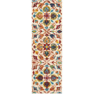 Zosia Hand Tufted Wool Ivory Area Rug Rug Size: Runner 23 x 76