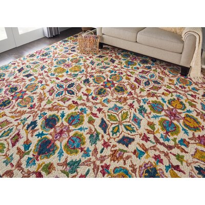 Zosia Hand Tufted Wool Ivory Area Rug Rug Size: 4 x 6