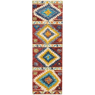 Zosia Hand Tufted Wool Red/Yellow Area Rug Rug Size: Runner 23 x 76
