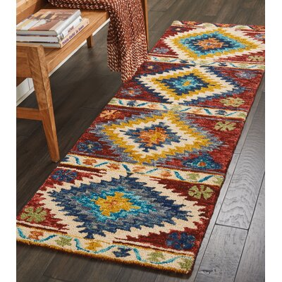 Zosia Hand Tufted Wool Red/Yellow Area Rug Rug Size: 4 x 6