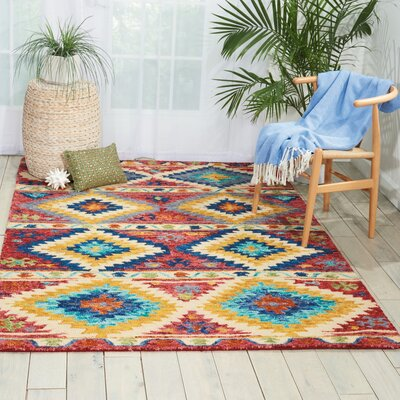 Zosia Hand Tufted Wool Red/Yellow Area Rug Rug Size: Rectangle 5 x 76