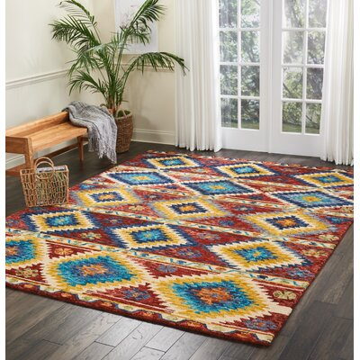 Zosia Hand Tufted Wool Red/Yellow Area Rug Rug Size: Rectangle 8 x 106