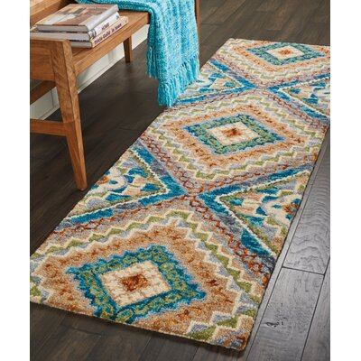 Zosia Geometric Hand Tufted Wool Ivory Area Rug Rug Size: Runner 23 x 76