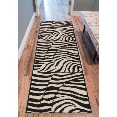 Emeline Zebra Black/White Animal Print Area Rug Rug Size: Runner 1'8