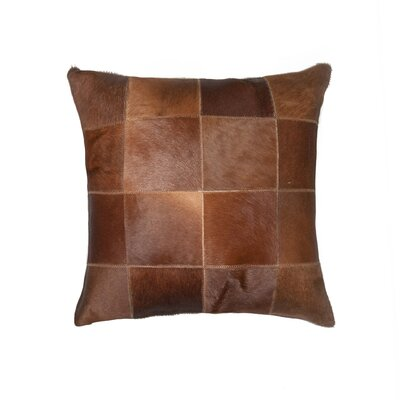 Burrell Square Patchwork Cowhide Throw Pillow Color: Brown