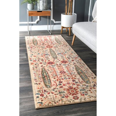 Marianna Olive/Red Area Rug Rug Size: Runner 28 x 8