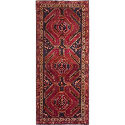 One-of-a-Kind Holloway Hand-Knotted Dark Navy/Dark Red Area Rug