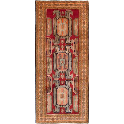 One-of-a-Kind Lin Hand-Knotted Red/Brown Area Rug