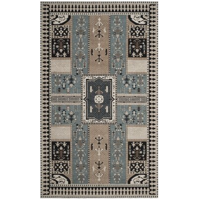 Essie Beige/Blue Area Rug Rug Size: Rectangle 5 x 8