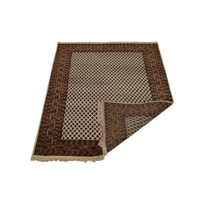 Marathon Hand-Knotted Wool Brown Area Rug Rug Size: 10 x 13