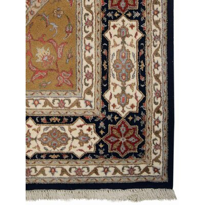 Marathon Hand-Knotted Wool Blue/Brown Area Rug Rug Size: 64 x 97