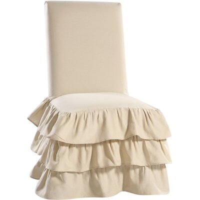 Parson Chair Skirted Slipcover Upholstery: Khaki