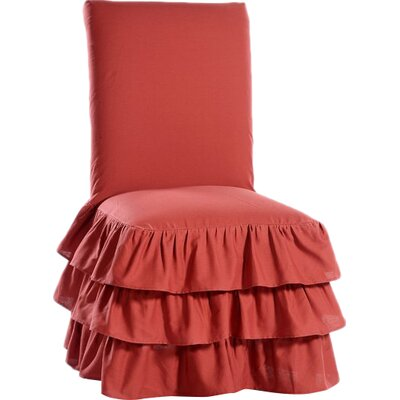 Parson Chair Skirted Slipcover Upholstery: Red