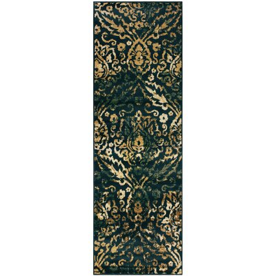 Goshen Navy Blue/Beige Area Rug Rug Size: Runner 27 x 8