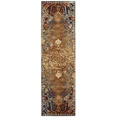 Quenby Gold/Red Area Rug Rug Size: Runner 23 x 76