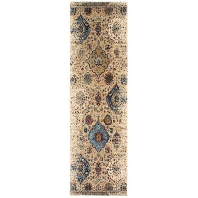 Quenby Ivory/Blue Area Rug Rug Size: Runner 23 x 76