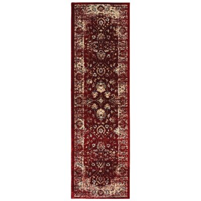 Quenby Red/Ivory Area Rug Rug Size: Runner 23 x 76