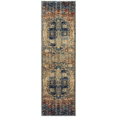 Quenby Gold/Blue Area Rug Rug Size: Runner 23 x 76