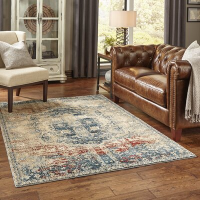 Quenby Gold/Blue Area Rug Rug Size: Rectangle 53 x 76