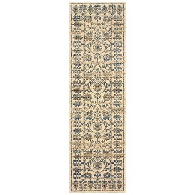 Quenby Traditional Ivory/Blue Area Rug Rug Size: Runner 23 x 76