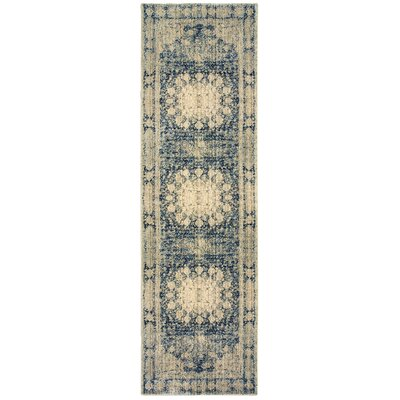 Quenby Floral Ivory/Blue Area Rug Rug Size: Rectangle 67 x 96