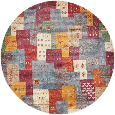 Rolling Hills Estates Rustic Yellow/Red/Blue Area Rug Rug Size: Round 5