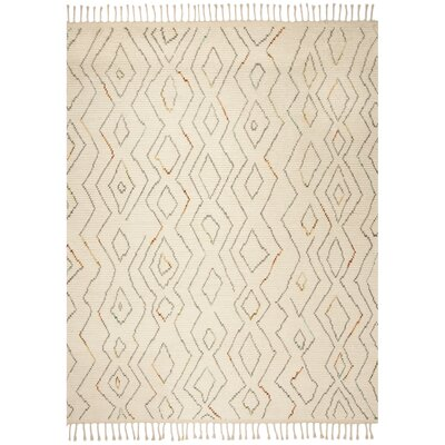 Glenoe Hand-Knotted Ivory Geometric Area Rug Rug Size: Rectangle 8 x 10