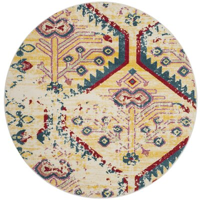 Hampstead Yellow/Blue Indoor Area Rug Rug Size: Round 67