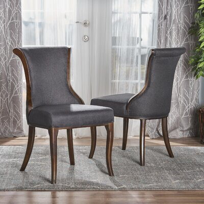 Glenhaven Upholstered Dining Chair Color: Dark Charcoal