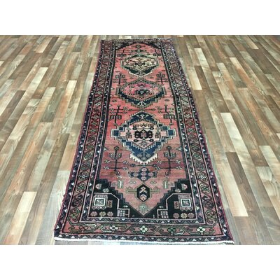 One-of-a-Kind Alayna Semi-Antique Hamadan Hand-Woven Wool Red Area Rug