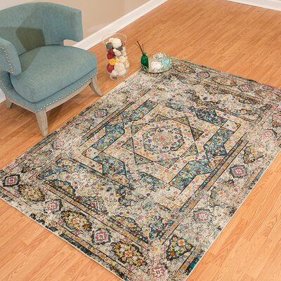Ravenstein Ivory/Blue Area Rug Rug Size: Rectangle 53 x 72