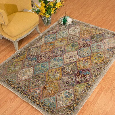 Ravenstein Teal/Yellow Area Rug Rug Size: Rectangle 710 x 106