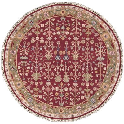 Prescot Hand-Woven Burgundy Area Rug Rug Size: Round 8