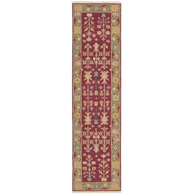 Prescot Hand-Woven Burgundy Area Rug Rug Size: Runner 26 x 10