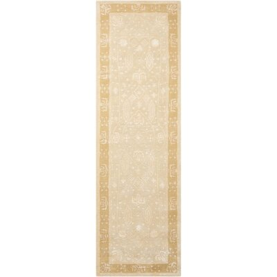 Veda Hand-Tufted Gold Oak Area Rug Rug Size: Runner 23 x 8