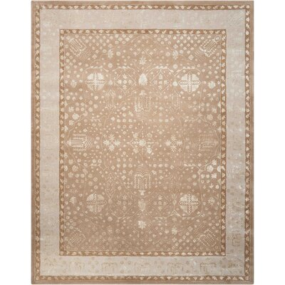 Veda Hand-Tufted Warm Taupe Area Rug Rug Size: Rectangle 76 x 96