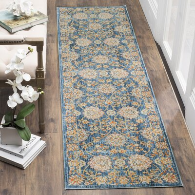 Elvie Brown/ Blue Area Rug Rug Size: Runner 22 x 12