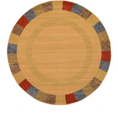 Jan Beige Color Bordered Area Rug Rug Size: Round 6