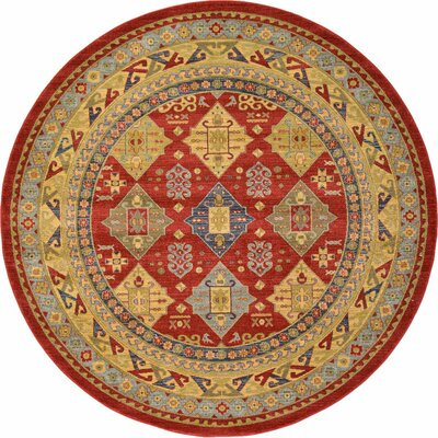 Jana Red Tibetan Area Rug Rug Size: Round 8