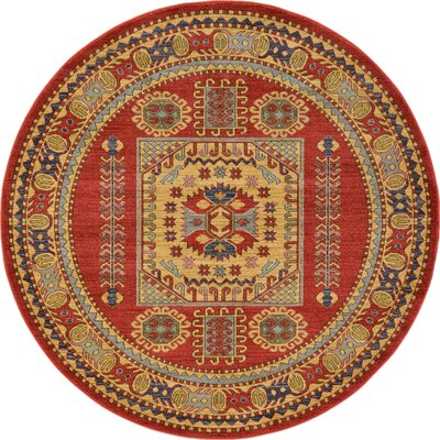 Jaida Red Tibetan Indoor Area Rug Rug Size: Round 8