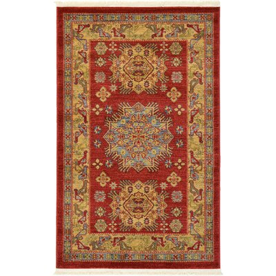 Jana Red Area Rug Rug Size: Rectangle 33 x 53