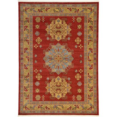 Jana Red Area Rug Rug Size: Rectangle 7 x 10