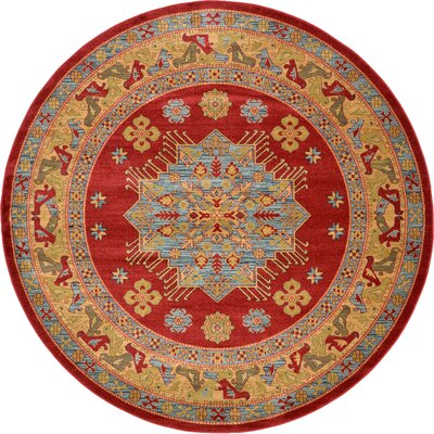 Jana Red Area Rug Rug Size: Round 8