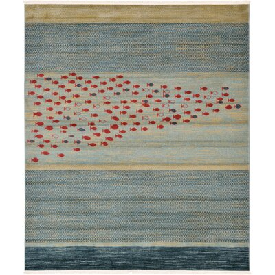 Jan Blue/Red/Beige Area Rug Rug Size: Square 8