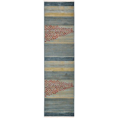 Jan Blue/Red/Beige Area Rug Rug Size: Runner 27 x 10