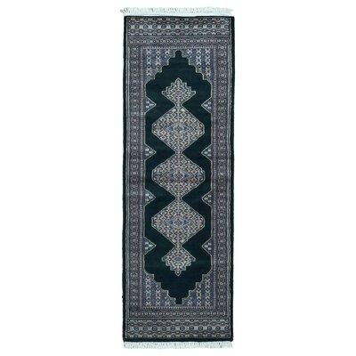 One-of-a-Kind Ewen Bukhara Oriental Hand-Woven Wool Black Area Rug