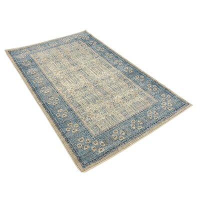 Brierfield Beige/Blue Area Rug Rug Size: Rectangle 33 x 53
